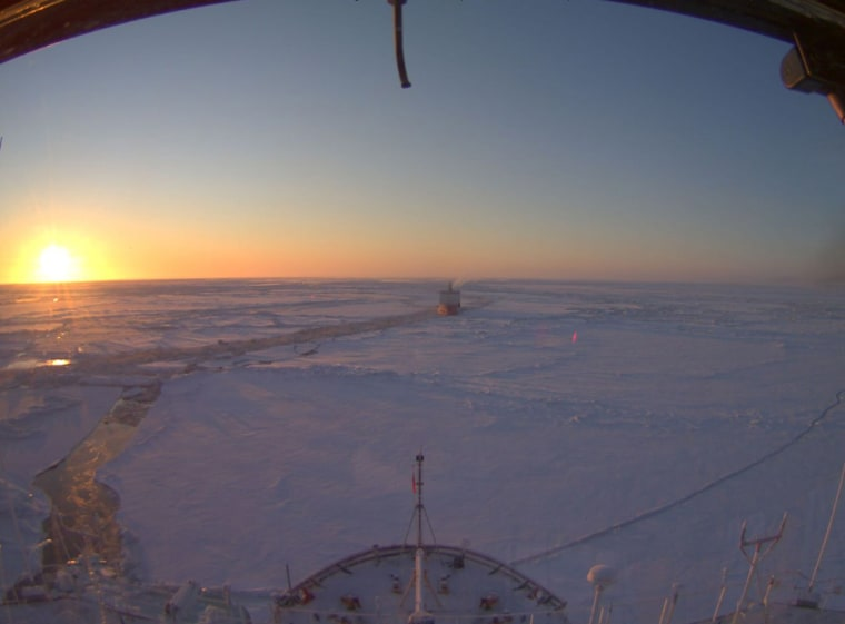The webcamview from the Coast Guard Cutter Healy with the Renda tanker behind off the coast of Nome, Alaska, onFriday local time.